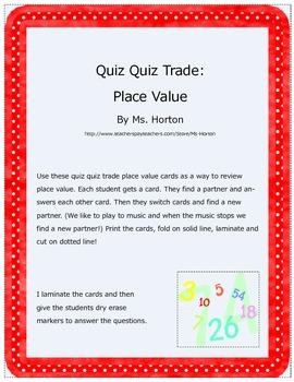Quiz Quiz Trade Place Value Review