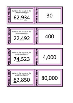Quiz Quiz Trade Cards - Place Value To 99,999