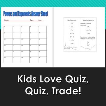 Quiz, Quiz, Trade Powers and Exponents