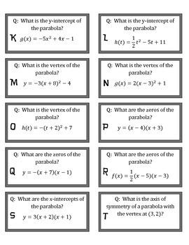 Quiz Quiz Trade Quadratic Form Cards