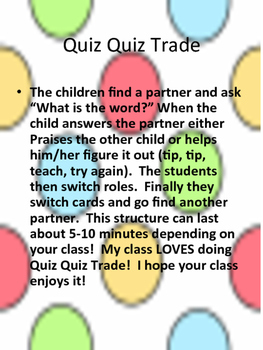 Quiz Quiz Trade Ready Set Sight Words