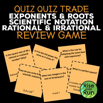 Exponents, Roots, Scientific Notation, Irrational Numbers Review Game