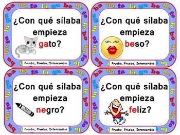 Quiz, Quiz, Trade: Spanish Syllables B, N, L, F and G  (with Pictures)