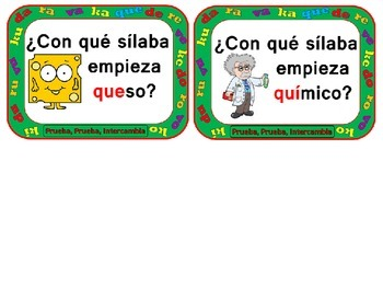 Quiz, Quiz, Trade: Spanish Syllables K, D, R, V, Que and Qui  (with Pictures)