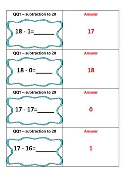 Quiz Quiz Trade Subtraction Facts numbers 11 to 20