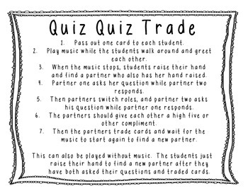 Quiz Quiz Trade Task Cards 3 States of Matter
