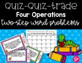 Quiz-Quiz-Trade Two-Step Word Problem Task Cards (Four Ope