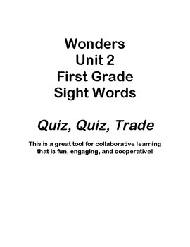 Quiz Quiz Trade Wonders First Grade Sight Words Unit 2
