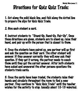 Quiz Quiz Trade: Wordly Wise 3000 Book 4-Lesson 11
