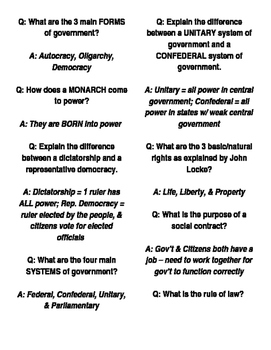 Quiz Quiz Trade for Foundations of Government