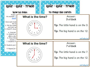 Quiz - Quiz - Trade for o'clock, half past, quarter to and