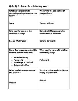 Quiz, Quiz, Trade on the Revolutionary War