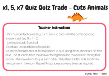 Quiz Quiz Trade Multiplication (x1, x5, x7)
