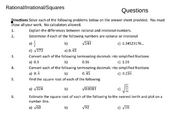 Quiz Rational, Irrational, Squares and Square Roots