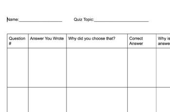 Quiz Reflection Sheet
