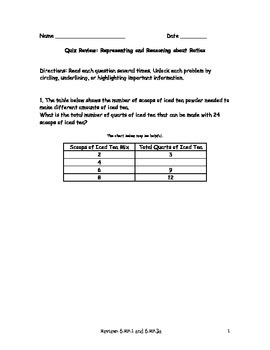 Common Core Quiz: Representing and Reasoning About Ratios with Study Guide