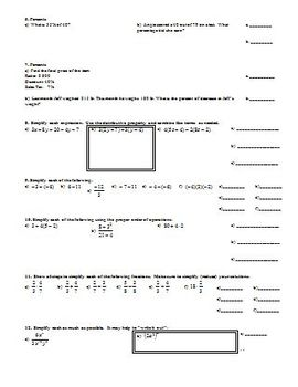 Quiz Review Proportional Reasoning and Solving Equations (Editable)
