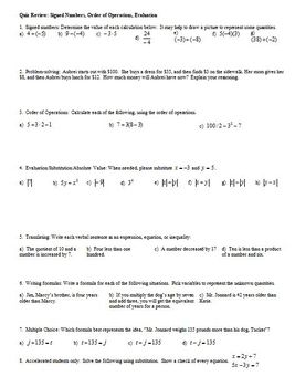 Quiz Review: Signed Numbers, Order of Operations, Evaluation (Editable)