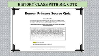Quiz: Roman Primary Source