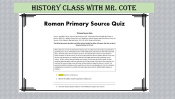 Quiz: Roman Primary Source