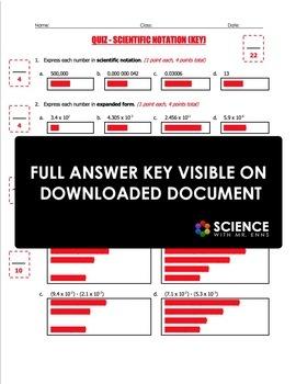 Quiz - Scientific Notation