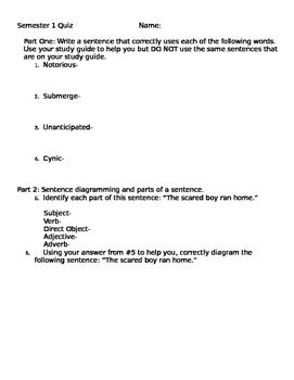 Quiz-Sentence Diagramming, vocab, parts of a sentence, sub