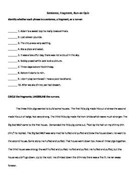 Quiz - Sentence, Fragment, or Run-on