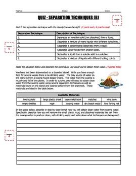 Quiz - Separating Mixtures (2 Quiz Set)