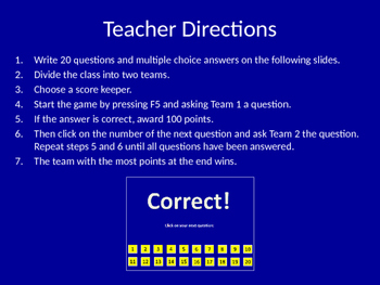 Quiz Show (Power Point) 20 Question Review