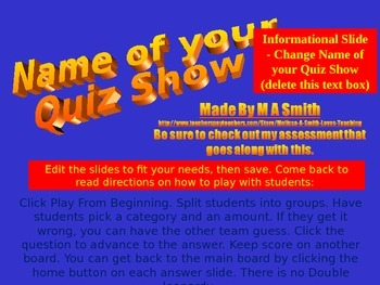 Quiz Show Template - Create Your Own Review Quiz Show