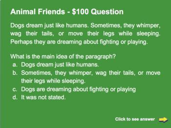 Quiz Show for Main Idea Reading Comprehension