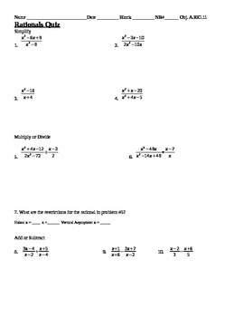 Quiz: Simplifying, Adding, Subtracting, Multiplying and Dividing Rationals