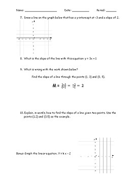 Quiz: Slope and Slope intercept form