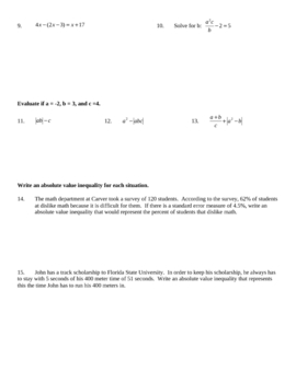Quiz - Solving Equations, Absolute Values, Compound Inequalities