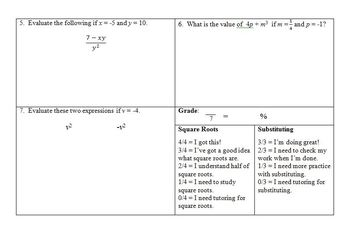 Quiz - Square Roots and Substitution