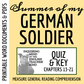 Summer of My German Soldier by Bette Greene - Quiz (pg. 156-end)