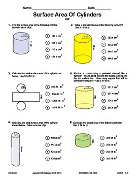 Quiz - Surface Area Of A Cylinder