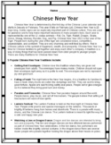 Chinese New Year 2022 - Comprehension Passage & Quiz (Editable)