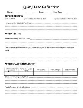 Quiz/Test Growth Mindset Reflection