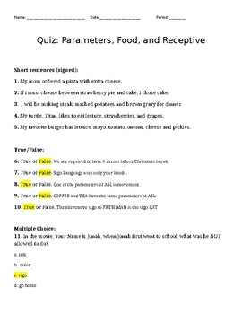 Quiz/ Test Key