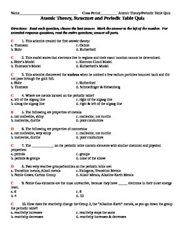 Quiz, Test, Summative Assessment - Atomic Theory, Structure, and Periodic Table