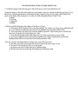 """Common Core Aligned Quiz/Test for """"The Fall of the House of Usher"""" by Poe"""