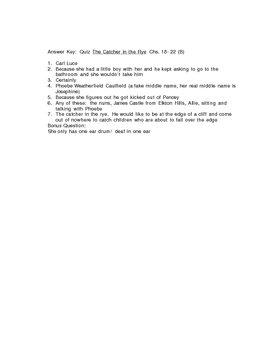 Quiz The Catcher in the Rye Chs. 18-22