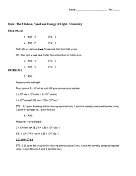 Quiz The Electron (Light and Energy calcuations) with key