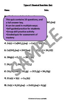 Quiz Types of Chemical Reactions