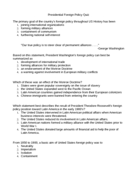 Quiz: US Foreign Policy (Washington-Roosevelt)
