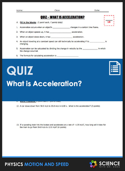 Quiz - What is Acceleration and Acceleration Word Problems