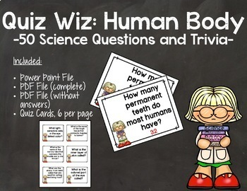 Quiz Wiz Science and Trivia Questions HUMAN BODY