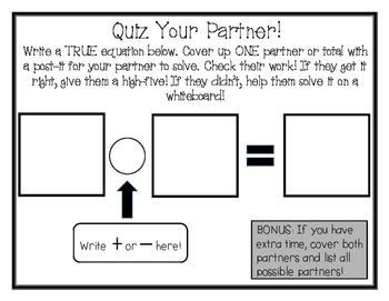 Quiz Your Partner Math Center [Missing Partner/Total]