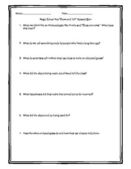 """Quiz and Assignment for the Magic School Bus """"Show and Tell"""" Archaeology Episode"""